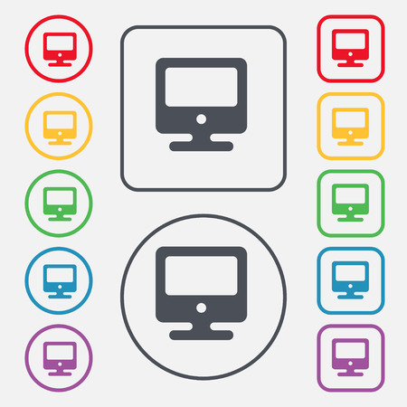 incrustation: monitor icon sign. symbol on the Round and square buttons with frame. Vector illustration