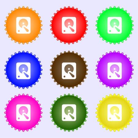 sata: hard disk icon sign. A set of nine different colored labels. Vector illustration Illustration