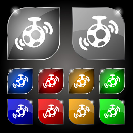 mirror ball: mirror ball disco icon sign. Set of ten colorful buttons with glare. Vector illustration