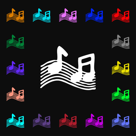 ringtone: musical note, music, ringtone icon sign. Lots of colorful symbols for your design. Vector illustration Illustration