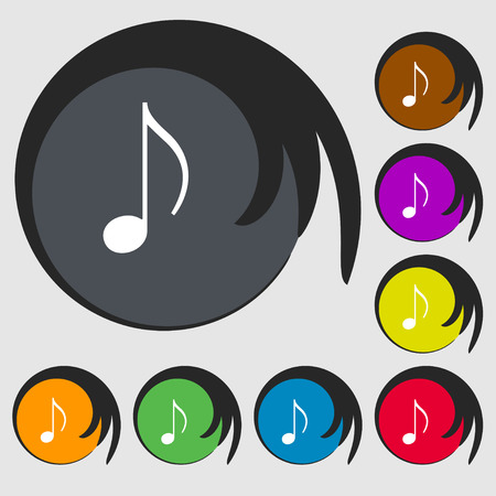 eight note: musical note, music, ringtone icon sign. Symbol on eight colored buttons. Vector illustration