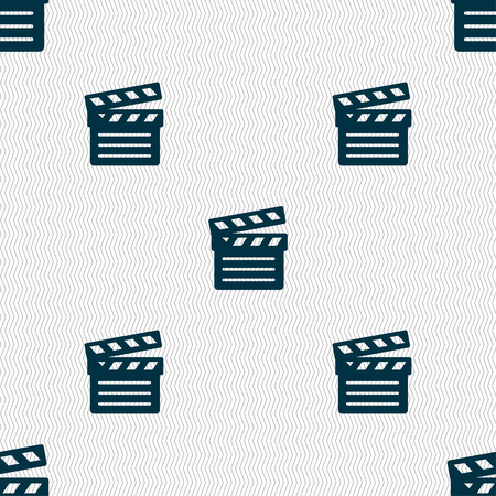 Cinema Clapper  icon sign. Seamless pattern with geometric texture. Vector illustration Vector