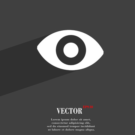 sense: sixth sense, the eye icon symbol Flat modern web design with long shadow and space for your text. Vector illustration Illustration