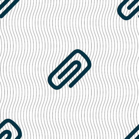 metalic sheet: clip to paper icon sign. Seamless pattern with geometric texture. Vector illustration