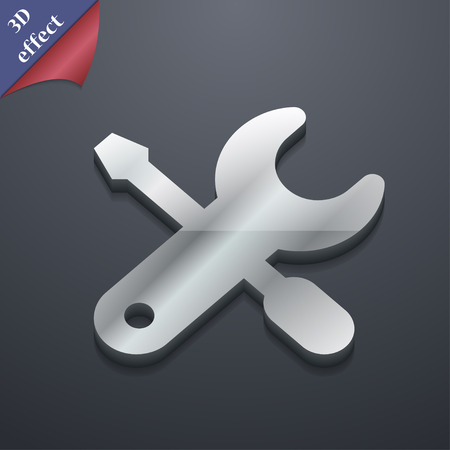 trackpad: screwdriver, key, settings icon symbol. 3D style. Trendy, modern design with space for your text Vector illustration