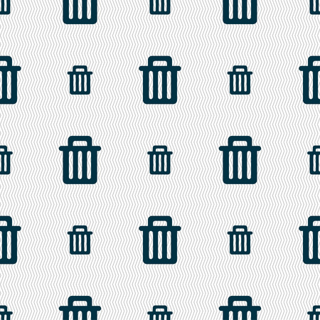 garbage tank: Recycle bin icon sign. Seamless pattern with geometric texture. Vector illustration