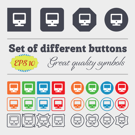 incrustation: monitor icon sign. Big set of colorful, diverse, high-quality buttons. Vector illustration