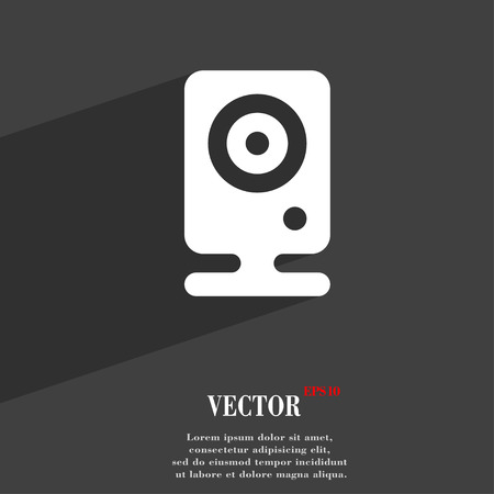 web cam: Web cam icon symbol Flat modern web design with long shadow and space for your text. Vector illustration Illustration