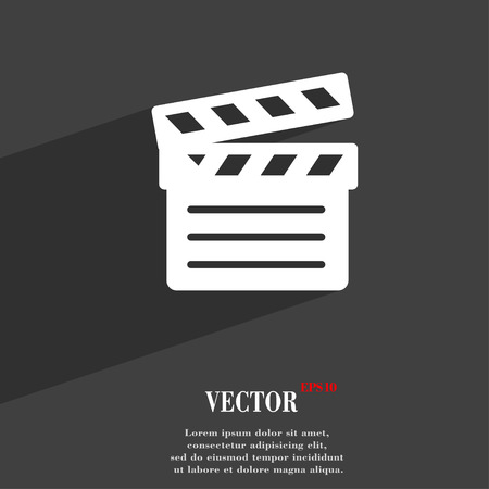 cut short: Cinema Clapper  icon symbol Flat modern web design with long shadow and space for your text. Vector illustration