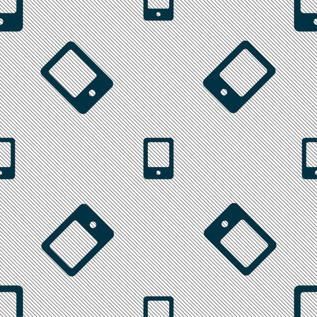 woman cellphone: Tablet icon sign. Seamless pattern with geometric texture. Vector illustration Illustration