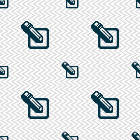 secretarial: pencil icon sign. Seamless pattern with geometric texture. Vector illustration