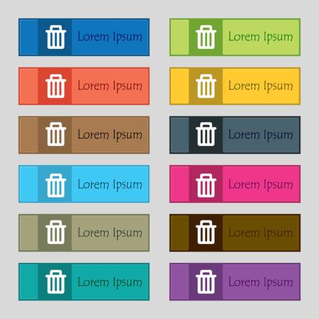 papelera de reciclaje: Papelera de reciclaje icono de signo. Conjunto de doce botones de colores, rectangulares, hermoso, de alta calidad para el sitio. Ilustraci�n vectorial