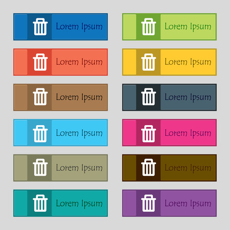 garbage tank: Recycle bin icon sign. Set of twelve rectangular, colorful, beautiful, high-quality buttons for the site. Vector illustration Illustration