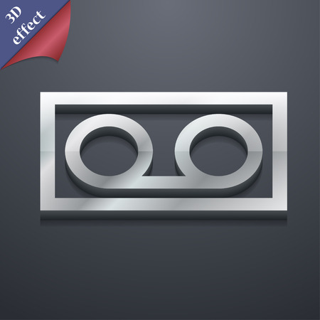 audio cassette icon symbol. 3D style. Trendy, modern design with space for your text Vector illustration