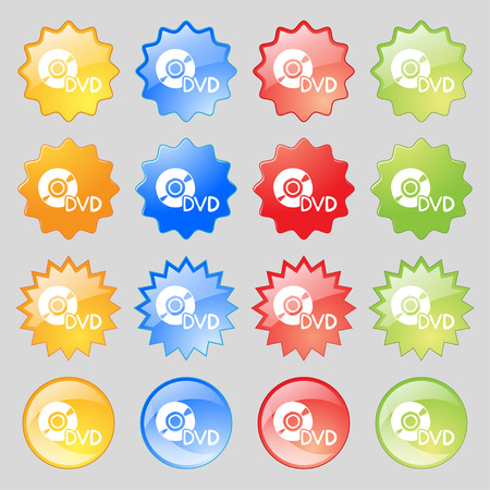 dvd case: dvd icon sign. Set from fourteen multi-colored glass buttons with place for text. Vector illustration Illustration
