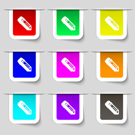 secretarial: pencil icon sign. Set of multicolored modern labels for your design. Vector illustration