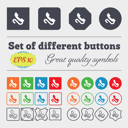 tel: retro telephone handset  icon sign. Big set of colorful, diverse, high-quality buttons. Vector illustration