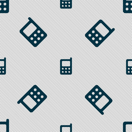 touchphone: mobile phone icon sign. Seamless pattern with geometric texture. Vector illustration
