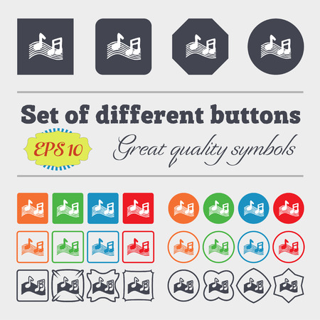 accord: musical note, music, ringtone icon sign. Big set of colorful, diverse, high-quality buttons. Vector illustration