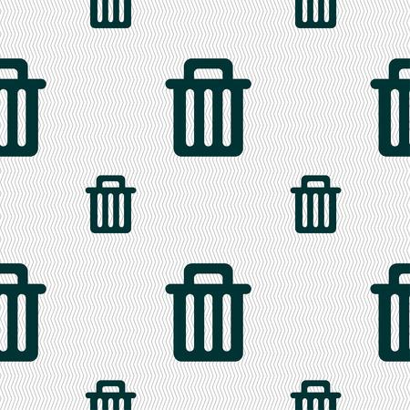 papelera de reciclaje: Papelera de reciclaje icono de signo. Modelo incons�til con textura geom�trica. Ilustraci�n vectorial