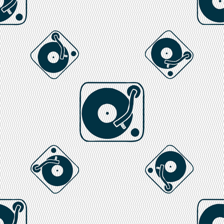 oldies: Gramophone, vinyl icon sign. Seamless pattern with geometric texture. Vector illustration