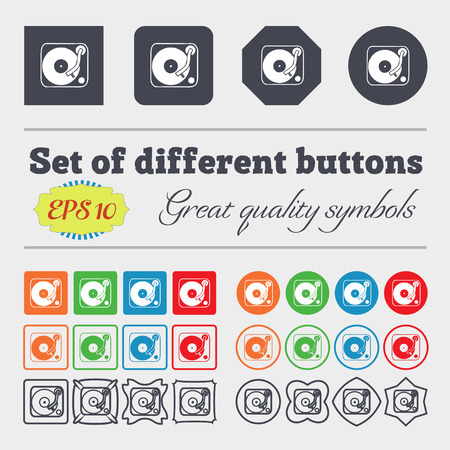 color mixing: Gramophone, vinyl icon sign. Big set of colorful, diverse, high-quality buttons. Vector illustration Illustration