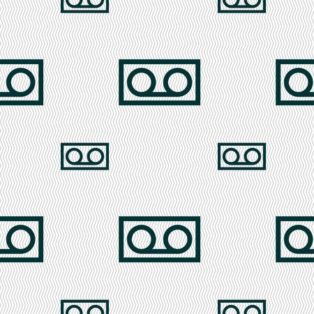 audio cassette: audio cassette icon sign. Seamless pattern with geometric texture. Vector illustration Illustration