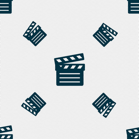 plate camera: Cinema Clapper  icon sign. Seamless pattern with geometric texture. Vector illustration Illustration