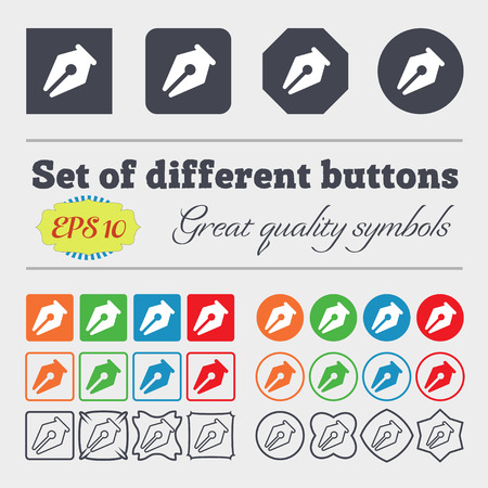 secretarial: pencil icon sign. Big set of colorful, diverse, high-quality buttons. Vector illustration