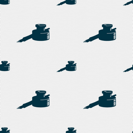 signing papers: pen and ink icon sign. Seamless pattern with geometric texture. Vector illustration