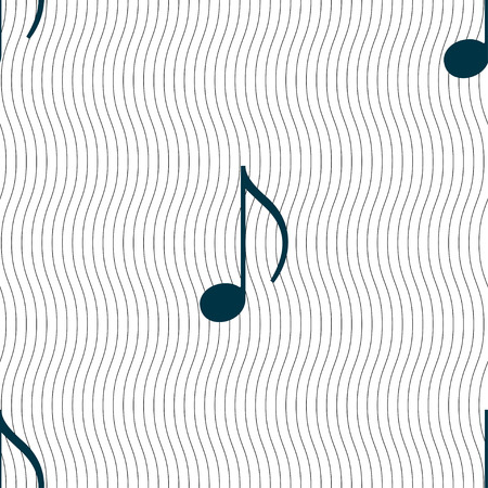 accord: musical note, music, ringtone icon sign. Seamless pattern with geometric texture. Vector illustration