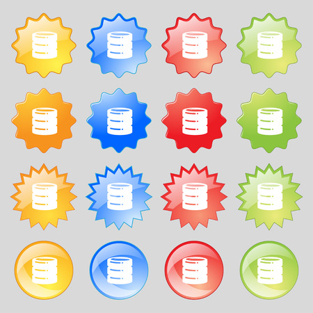 scsi: hard drive date base icon sign. Set from fourteen multi-colored glass buttons with place for text. Vector illustration Illustration