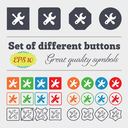 trackpad: screwdriver, key, settings icon sign. Big set of colorful, diverse, high-quality buttons. Vector illustration