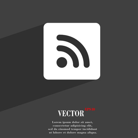 rss feed icon: RSS feed  icon symbol Flat modern web design with long shadow and space for your text. Vector illustration Illustration