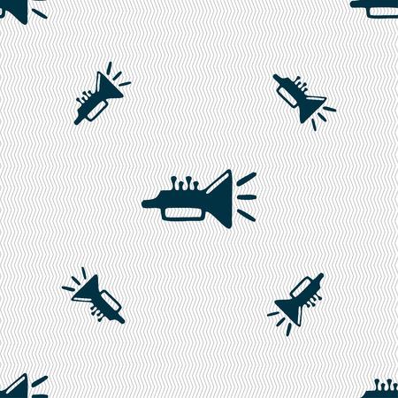 brass instrument: trumpet, brass instrument icon sign. Seamless pattern with geometric texture. Vector illustration Illustration