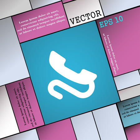 tel: retro telephone handset  icon sign. Modern flat style for your design. Vector illustration