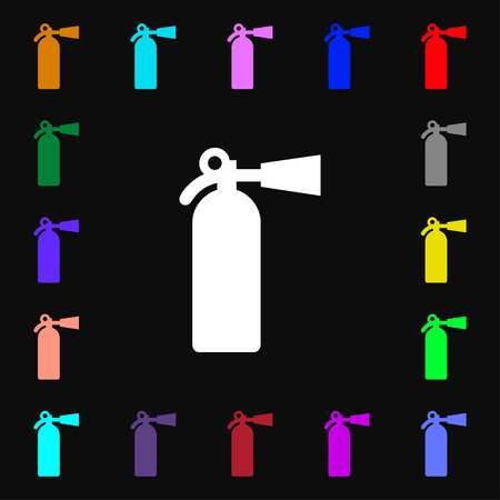 suppression: fire extinguisher icon sign. Lots of colorful symbols for your design. Vector illustration