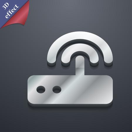 dsl: Wi fi icona router simbolo. Stile 3D. Alla moda, design moderno con spazio per il testo vettore