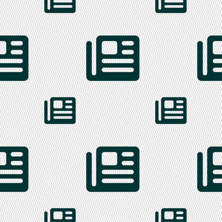newspaper texture: book, newspaper icon sign. Seamless pattern with geometric texture. Vector illustration