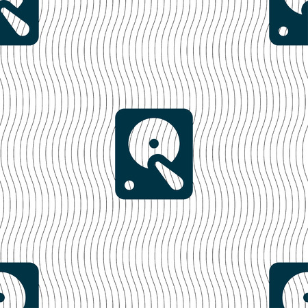 hardware configuration: hard disk icon sign. Seamless pattern with geometric texture. Vector illustration