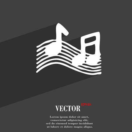 ringtone: musical note, music, ringtone icon symbol Flat modern web design with long shadow and space for your text. Vector illustration