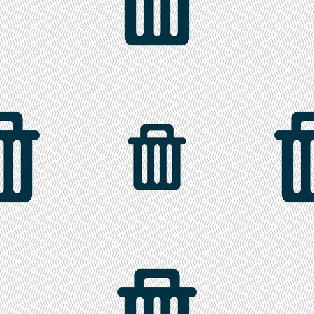 litter bin: Recycle bin icon sign. Seamless pattern with geometric texture. Vector illustration