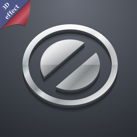 delay: Cancel icon symbol. 3D style. Trendy, modern design with space for your text Vector illustration