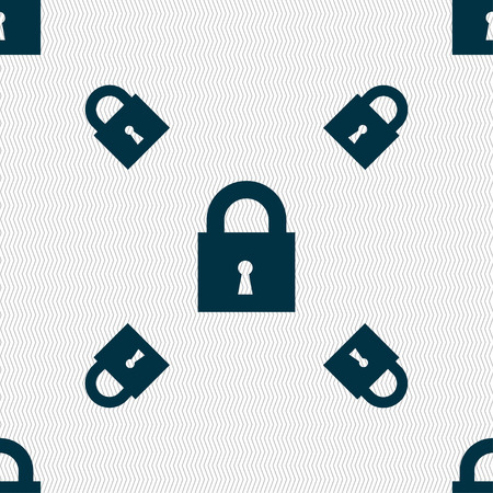 closed lock: closed lock icon sign. Seamless pattern with geometric texture. Vector illustration