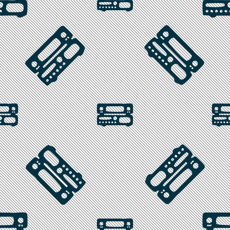 hifi: radio, receiver, amplifier icon sign. Seamless pattern with geometric texture. Vector illustration Illustration