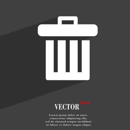 papelera de reciclaje: Papelera de reciclaje icono s�mbolo Dise�o plano web moderno con una larga sombra y el espacio para el texto. Ilustraci�n vectorial Vectores