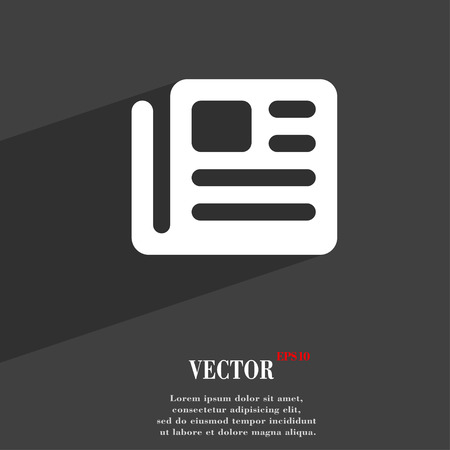 newspaper print: book, newspaper icon symbol Flat modern web design with long shadow and space for your text. Vector illustration