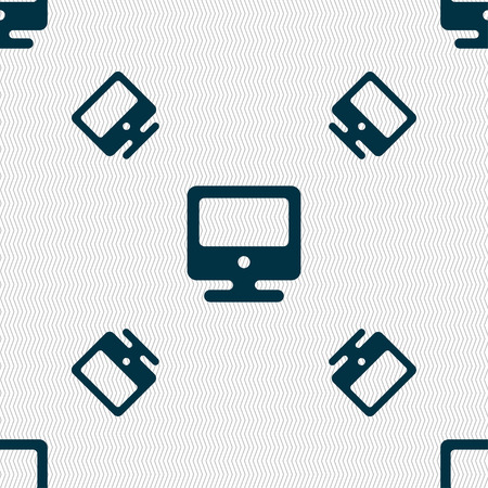 incrustation: monitor icon sign. Seamless pattern with geometric texture. Vector illustration
