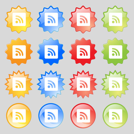 rss feed icon: RSS feed  icon sign. Set from fourteen multi-colored glass buttons with place for text. Vector illustration