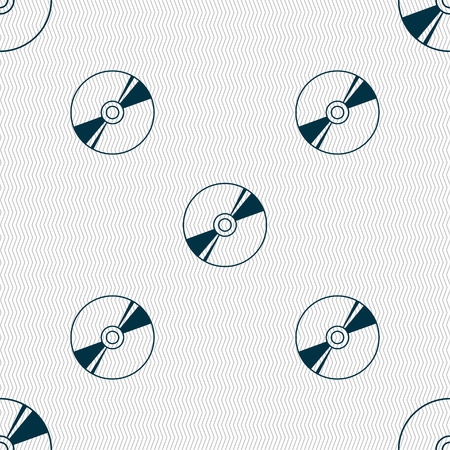 blueray: Cd, DVD, compact disk, blue ray icon sign. Seamless pattern with geometric texture. Vector illustration
